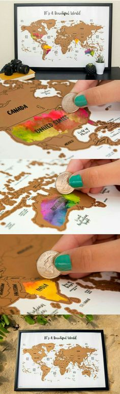Scratch your travels with this gorgeous original watercolor world map. Bright, bold & interactive wall art that will fit any size frame. Use a coin to scratch off the foil to reveal the bright c (Diy Art Map) Interactive Walls, Water Color World Map, Kunst Poster, Ideias Diy, Travel Maps, World Map Travel, Travel Europe, Travel Packing, Christmas Gifts