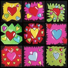 Gemaakt door groep 7/8 - Valentijn Alles knippen en plakken en de hartjes met zwarte pen omlijnen. Gevonden op tekenen enzo.