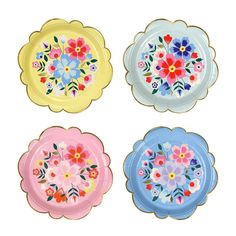 Small Kashmiri Plates by Meri Meri. Floral patterned plates to add style and vibrancy to any meal. Pack of 8 Measures x Party Napkins, Party Plates, Party Tableware, Dessert Plates, Floral Paper Plates, Flower Plates, Cake Pops, Cupcakes, Fiesta Party