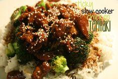 Sticky Slow Cooker Chicken Teriyaki  1/3 cup brown sugar  1/2 cup soy sauce  1/2 tsp ground ginger  1/2 scant cup* chicken stock  1 pack boneless chicken thighs  2 tbsp cornstarch  2 garlic cloves  2 tbsp honey  2 tbsp  teriyaki sauce  2 tbsp sesame seeds