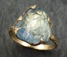 Raw Uncut Aquamarine Ring Solid 14k Gold Ring wedding engagement Rough Gemstone Ring Statement Ring Stacking byAngeline 0409