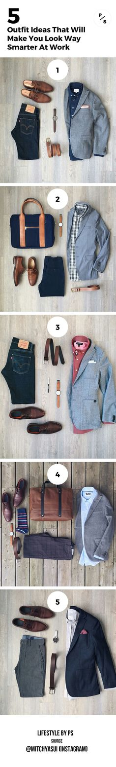 Season Jackets - WORK OUTFITS FOR MEN. Being the garment of the season has many good things, but also requires some chameleonic ability to not saturate when it has just started. Office Outfits, Mode Outfits, Casual Outfits, Men Casual, Fashion Outfits, Office Wear, Fashion Clothes, Mens Fashion Blog, Look Fashion