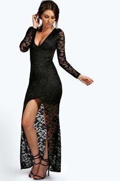 7b0f5b283f boohoo Petite Isobel Plunge Neck Lace Maxi Dress Maxi Shirt Dress