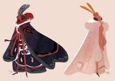Moth people designs, in the context of my comic's universe (which is in the Victorian Era! Fantasy Character Design, Character Design Inspiration, Character Concept, Character Art, Concept Art, Cute Moth, Chibi, Mothman, Creature Concept