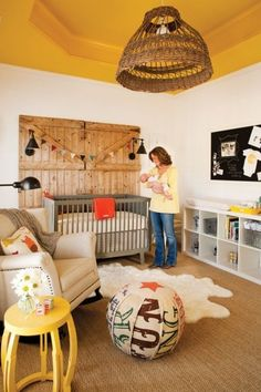 barn door, yellow tray ceiling, natural, nursery. This is cute!