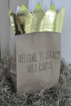 kids favor bag idea - with crowns for each child. can use burlap bag as well