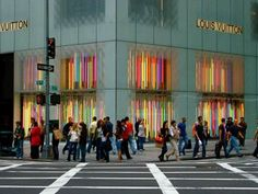 Louis Vuitton store in NY with light installation