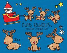 Premium Vector Clipart - Kawaii Rudolph el reno nariz roja - Reno lindo Set de imágenes prediseñadas - alta calidad vectores - Clipart de Navidad Kawaii