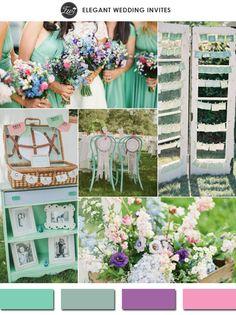 2015 spring lucite green purple and pinks vintage wedding color ideas #elegantweddinginvites
