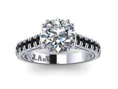 Black Diamond Engagement Ring Wedding Ring 14K White Gold Ring with 7mm Round White Sapphire Center - V1029 on Etsy, $1,250.00