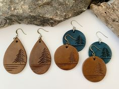 Outdoorsy Leather Goods by GetOutsideDesign Diy Leather Earrings, Wood Earrings, Diy Earrings, Leather Jewelry, Leather Craft, Scarf Jewelry, Cute Jewelry, Jewelry Crafts, Handmade Jewelry