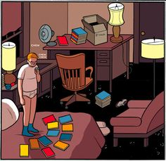 The image above was drawn by comic book artist extraordinaire Mr Chris Ware. Here's my Chris Ware interview. Chris Ware, Grant Wood, Comic Book Artists, Book Illustration, Great Artists, Painting & Drawing, Illustrators, Cool Art, Contemporary Art