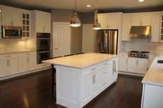 KBR Kitchen U0026 Bath   PHOTO GALLERY   Recessed With Pendant Combo,  Undercabinet Lighting, Nice Pulls, Would Like Less Busy Cab Detailing (this  Might Be ...