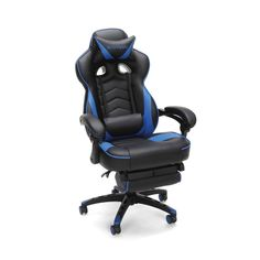 RESPAWN 110 Racing Style Gaming Chair, Reclining Ergonomic Leather Chair with Footrest, in Blue Gamer Chair, Desk Chair, Swivel Chair, Armchair, Gaming Furniture, Pallet Furniture, Office Furniture, Chaise Gaming, Computer Desk With Shelves