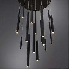 - Eurofase Santana LED contemporary linear chandelier with clustered matte black tubes that suspend under from a canopy at different lengths. Round Chandelier, Linear Chandelier, Black Chandelier, Contemporary Chandelier, Chandelier Lighting, High Ceiling Lighting, Contemporary Light Fixtures, Industrial Chandelier, Industrial Lighting