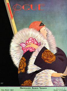 Vogue cover by George Plank, Jan. 1927