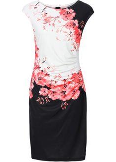 Šaty s nařasením, BODYFLIRT, černo-korálový vzor