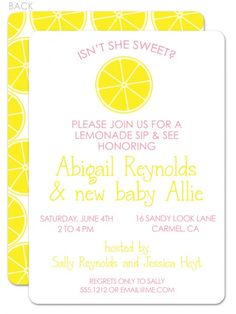 So fresh and cute!    Lemonade sip and see Invitation | Swanky Press