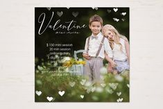Valentine Mini Session Template by TheSeventhDesire on Social Media Template, Social Media Design, Valentine Mini Session, Valentines, Best Instagram Stories, Photoshop Program, Photography Mini Sessions, Photography Marketing, Digital Scrapbook Paper