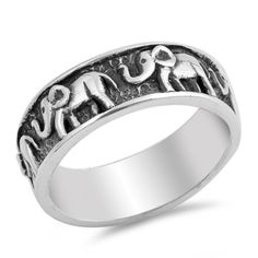 Antiqued Small Cute Elephant Animal Boho Ring Sterling Silver Band Sizes 4-10
