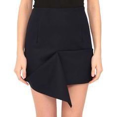 Jacquemus Asymmetric skirt (23.580 RUB) ❤ liked on Polyvore featuring skirts, blue, asymmetrical skirt, wool skirt, panel skirt, blue skirt e blue wool skirt