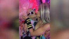 Kylie Jenner dresses up as Christina Aguilera again, kisses singer at her birthday bash.