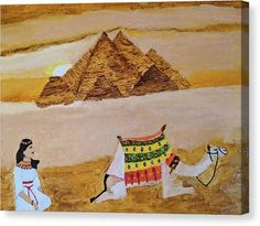 Egypt Canvas Print featuring the painting Pyramids And Princess by Nandini Suresh
