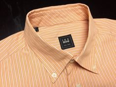 IKE BEHAR USA Men's 16.5 L Orange Red White Striped Long Sleeve Button-Down Shirt #IkeBehar | Men's Fashion & Style | Shop Menswear, Men's Clothes, Men's Apparel & Accessories at designerclothingf... | Find Sport Coats, Blazers, Suits, Shirts, Polos, Pants/Trousers and More...