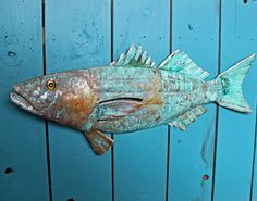 Striped Bass - trophy-sized copper fish sculpture  - with blue green patina - OOAK