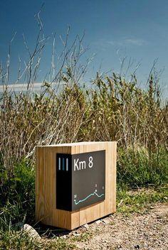 Parc Riu Llobregat, Llobregat, signage system by river Signage Board, Park Signage, Signage Display, Environmental Graphic Design, Environmental Graphics, Branding And Packaging, Web Design Mobile, Wayfinding Signs, Sign System