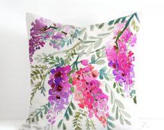 Wisteria Pillow Cover Designer Watercolor by SenayStudio on Etsy