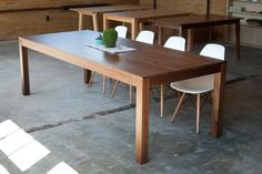 "40""w x 96""l x 30""h Walnut Solid Wood Dining Table - Square Legs. $1,195.00, via Etsy."