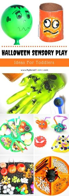 Halloween Sensory Pl Halloween Sensory Play Ideas for Toddlers. Halloween crafts Halloween play ideas Halloween Activities Toddler Sensory Play Fall Sensory Play Fall Autumn Halloween for Toddlers and Babies Halloween Activities For Toddlers, Toddler Halloween, Halloween Crafts For Kids, Toddler Activities, Halloween Party, Halloween Ideas, Sensory Activities, Autumn Activities, Holiday Crafts