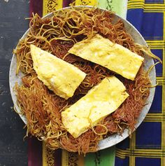Balaleet (Sweet Vermicelli and Eggs)  Served as a breakfast dish and also for dessert, this Indian-influenced sweet pasta is fried and topped with a saffron omelette, making it crunchy, sweet, tender, and savory all at once.    Sounds heavenly.
