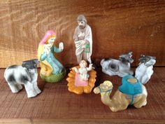 Christmas Nativity Crèche Set  Large Vintage by EightBoardsFarm, $22.00