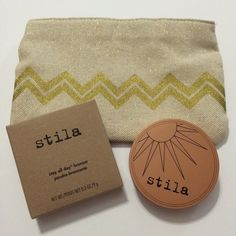 "Stila Medium Bronzer and Sephora Cosmetic Bag Stila's stay all day bronzer in medium is a cool, matte bronzer that blends beautifully into the skin. This bronzer is completely new and unused. The pouch is a brand new Sephora zipper pouch, roughly 6"" x 8"". Please let me know if you have any questions :) Thanks for looking! Stila Makeup Bronzer"