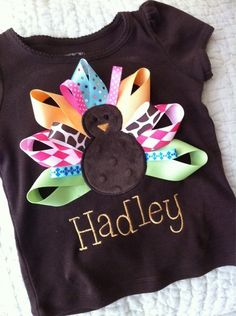 Turkey shirt w ribbon tail feathers so cute! #DIY #thanksgiving baby