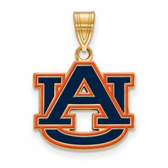 Sterling Silver w/GP LogoArt Auburn University Medium Enamel Pendant