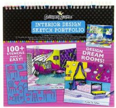 Interior Design Sketch Portfolio by Fashion Angels Enterprises. $17.00. 6 different page styles to design your dream rooms! Removable stencil sheets!. Includes 7 Stencil cards (100+ stencil designs), 40 Interior Design Sketch Pages!. Express your interior design talent with this sketch portfolio kit from Fashion Angels.. Easy to follow instruction. Inspirational ideas for fabric swatches, details, color theory, and furniture placeholders.. Design your own dream rooms, furnitu...