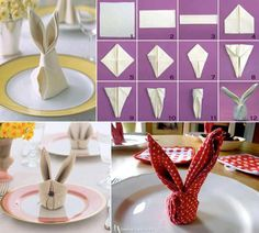 Easter Bunny Napkin Tutorials easter diy diy ideas easy diy how to tutorials easter crafts easter craft easter bunny easter party ideas Bunny Napkin Fold, Napkin Folding, Easy Easter Crafts, Bunny Crafts, Easter Ideas, Easter Table, Easter Party, Easter Dinner, Easter Bunny
