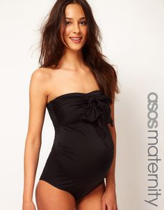 ASOS Maternity Exclusive Swimsuit With Bow in black. $46.00