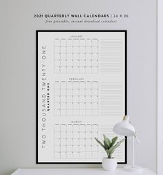 Plan your business & marketing content with this Printable 2021 Quarterly Wall Calendars 4 24x36 Posters | Etsy