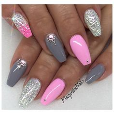 Baby Pink And Grey by MargaritasNailz via @nailartgallery #nailartgallery #nailart #nails #gel #pink #geldesign #glittergel #bling #gelnails #naildesign #ombre #summernails