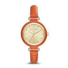 A/X Armani Exchange Smart Womens Leather Watch, Women's, Orange Wrap Watches, Jewelry Watches, Orange Leather, Girls Life, Leather Jewelry, Fashion Watches, Women's Fashion, Women Accessories, Orange Orange