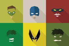 Superhero Mask — SuperHeroes Masks Flat (Set by LogoCreator on Creative Market Business Illustration, Pencil Illustration, Character Illustration, Graphic Illustration, Flat Drawings, Pencil Art Drawings, Superhero Tshirt, Wolverine Art, Creative Sketches