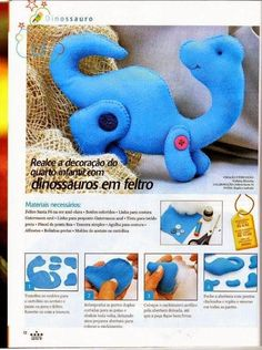 Cute Dinossauros - Free Pattern and tutorial - Bildanleitung
