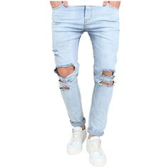 New High Street Fashion Men Jeans Light Blue Denim Ripped Jeans