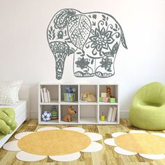 "Boho Elephant Decal Nursery Wall Decals Bohemian Bedding Indian Decor for Bedroom Mandala Sticker Yoga ✦ Available sizes (approximate):  Please note that images may not reflect exact size.  15"" tall x 17"" wide (38 cm x 43 cm)  22"" tall x 25"" wide (56 cm x 63 cm)  38"" tall x 43"" wide (96 cm x 109 cm)  If you need a different size, please feel free to ask. Prices may vary.  ✦ Choose the color of your decal from our color chart shown in last image of this listing. And leave the message during…"