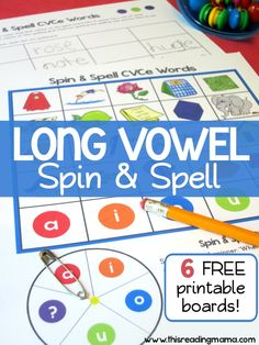 FREE Long Vowel Spelling Game (CVCe Words) - Spin and Spell ~ with 6 Printable Boards | This Reading Mama