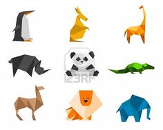Origami Logo Set 1: penguin, kangaroo, giraffe, rhinoceros, panda, crocodile, camel, lion, elephant Stock Photo